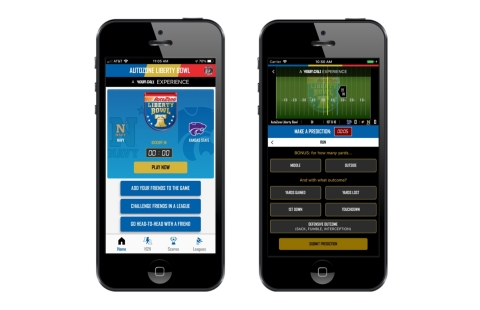 Powered by Your Call's technology, the AutoZone Liberty Bowl Pick 'Em Live App allows fans to predict plays in real time and win prizes during the game. (Photo: Business Wire)