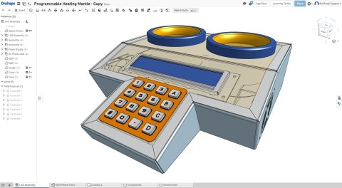 Screenshot of the CAD model of a programmable heating mantle in Onshape (Graphic: Business Wire)