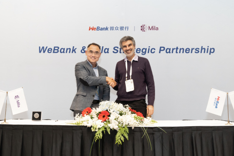 China's largest digital bank WeBank announced two partnerships during top AI conference NuerIPS. (Photo: Business Wire)