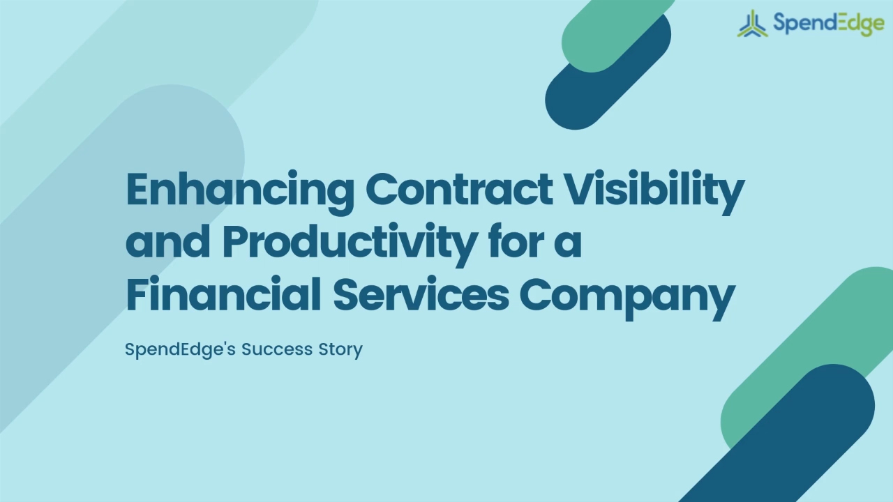 Enhancing Contract Visibility and Productivity for a Financial Services Company.