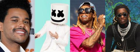 From left to right, The Weeknd, Marshmello, Lil Wayne, and Young Thug are among top artists tapped by TRILLER to become investors and strategic partners. (Photo: Business Wire)