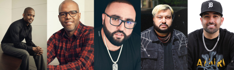 """Joining TRILLER as investors and strategic partners are music industry notables (from left to right), Gee Roberson, Shawn Gee, Tony W. Sal, Amir """"Cash"""" Esmailian, and Mo Shalizi. (Photo: Business Wire)"""
