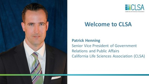 California Life Sciences Association Hires Patrick Henning as Senior Vice President of Government Relations and Public Affairs (Graphic: Business Wire)