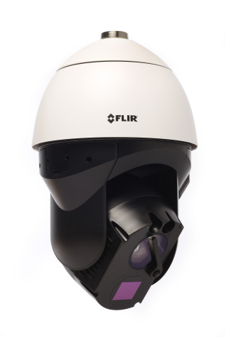 The FLIR Elara DX-Series, one of three new Pan-Tilt-Zoom security cameras FLIR announced today, includes a premium thermal camera and 4K visible camera for imaging day or night, longer viewing range capabilities, and a wiper blade that can be remotely operated for use in harsh weather conditions. (Photo: Business Wire)
