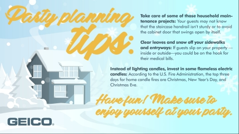 Hosting a holiday party? Check out these tips from the GEICO Insurance Agency. (Graphic: Business Wire)