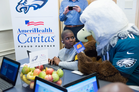 AmeriHealth Caritas, a national leader in Medicaid managed care, is partnering with the Philadelphia Eagles to launch the first in-classroom health and fitness learning modules associated with the National Football League (NFL). The modules, which will focus on health, nutrition and physical fitness for elementary and middle school-aged children, was introduced during a kick-off event at Add B. Anderson Elementary School in Philadelphia on December 19, 2019. (Photo: AmeriHealth Caritas)