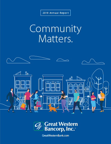 Great Western Bancorp, Inc. the parent company of Great Western Bank, today released its 2019 Annual Report, Community Matters, showcasing its fifth consecutive year achieving record profits since its Initial Public Offering.