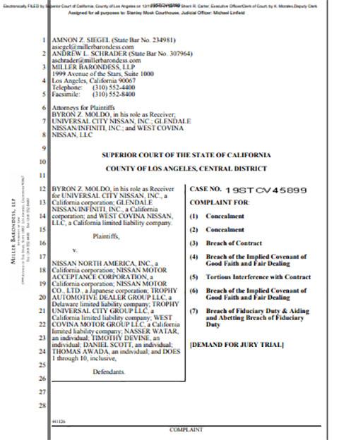 Byron Z. Moldo, et al. v. Nissan North America, Inc., et al. Los Angeles County Superior Court Case No. 19STCV45899