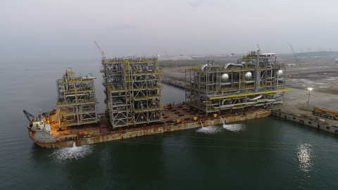 COOEC-Fluor's fabrication yard shipped the final module assembly and it recently arrived at the project site in Kuwait. (Photo: Business Wire)