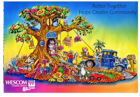 """Wescom Credit Union Celebrates 85th Anniversary with First-ever Rose Parade® Float: """"Better Together: Hope Creates Community"""" (Graphic: Business Wire)"""
