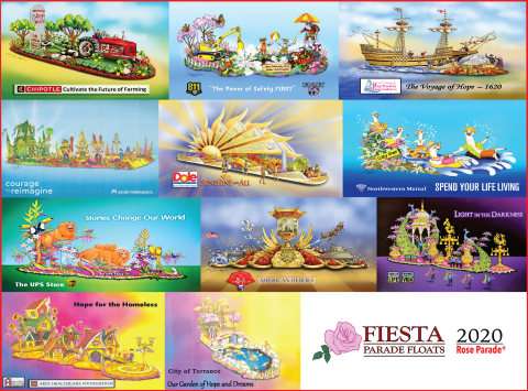 Fiesta Parade Floats unveils an inspirational and entertaining line-up of 2020 Rose Parade float entries. (Graphic: Business Wire)