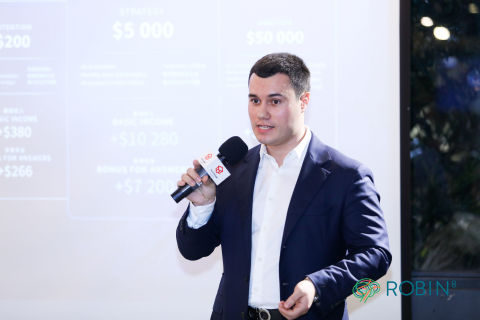 Illia Danylenko, the CEO of TeachMeCash, holds a speech at KOL Summit 2019 in Beijing. (Photo: Business Wire)