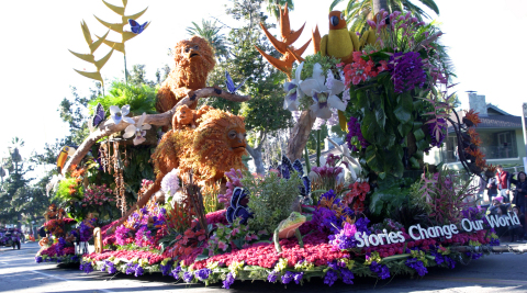 """The UPS Store's 2020 Rose Parade Float """"Stories Change Our World"""" earned the Sweepstakes Trophy for the most beautiful entry, one of ten awards for Fiesta Parade Floats. (Photo by Fiesta Parade Floats)"""