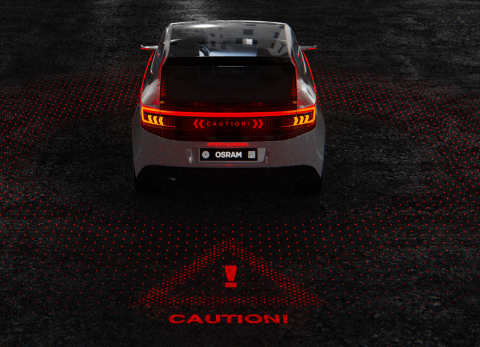 Osram's RCL (Rear Combination Light) technology shows how external automotive lighting will change in the coming years. Picture: Osram