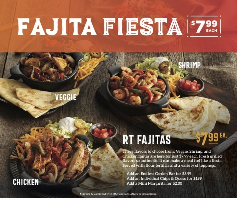Starting Jan. 6, Ruby Tuesday guests can enjoy $7.99 fajitas - choose from three fresh-sliced and grilled fajita options, including veggie, chicken and shrimp, available across all locations for a limited time only. (Photo: Business Wire)