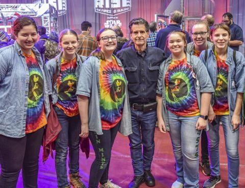 FIRST Founder Dean Kamen (center) pictured with student team members at the 2020 FIRST Robotics Competition Kickoff which broadcasted from Manchester, N.H. to nearly 100,000 high school students on 3,898 teams watching from around the world. (Photo: Business Wire)