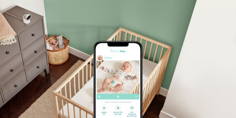 The Lumi by Pampers™ all-in-one Connected Baby Care System uniquely combines a smart HD video monitor with an activity sensor and brings the information together in an easy-to-use app. (Photo: Business Wire)