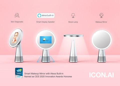 """ICON.AI, the smart beauty device maker behind the world's 1st All-in-one Multi-Function Smart Makeup Mirror Device, named as CES 2020 Innovation Awards Honoree for Venus, Smart Makeup Mirror with Alexa Built-in. ICON.AI reveals the Mirror at the 2020 CES .Venus is an all-in-one, multi-function smart makeup mirror featuring 7"""" touchscreen LCD, Alexa built-in (smart display speaker), skin diagnostic/AR makeup function, table mood lamp, LED ring lights for makeup, in addition to the best user experience and user-centered design. Venus is a brand-new innovative beauty device which integrates artificial intelligence with various features/technology for beauty & cosmetic industry and customers. (Graphic: Business Wire)"""