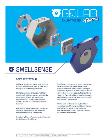 SmellSense is an electronic sensor monitoring system that lets you plan ahead and check how the bathroom smells without having to experience it yourself.(Graphic: Business Wire)