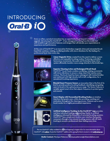 Oral-B iO is a monumental leap in innovative oral care technology, featuring a frictionless magnetic drive that distributes energy evenly to the tips of the bristles to create revolutionary micro-vibrations. (Graphic: Business Wire)