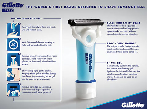 Gillette TREO is the world's first razor specifically designed for caregivers and their loved ones. Now caregivers can confidently shave their loved ones anywhere, even away from the sink.