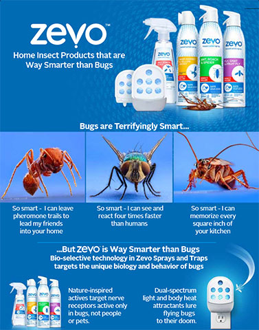 The bio-selective technology in Zevo Sprays and Traps targets the unique biology and behavior of bugs. (Graphic: Business Wire)