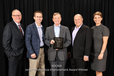 MFG Chemical receives SOCMA 2019 Plant EHS&S Improvement Award. Pictured L to R Gene Williams, Chairman of SOCMA, Joe Welch, MFG Chemical Director EHS&S, Keith Arnold, President & CEO MFG Chemical, Jon Amdursky, MFG Chemical Marketing Communications, Jennifer Abril, President & CEO SOCMA.