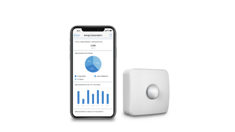 The WiZ Motion Sensor can trigger lighting modes and automatically turn off lights when no motion is detected, and a new set of Energy Optimization features, including power consumption monitoring, in the WiZ App. (Photo: Business Wire)