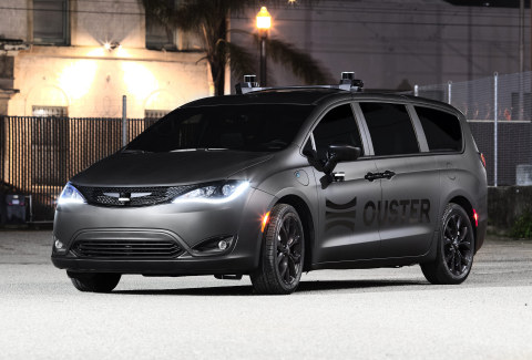 Ouster OS0, OS1, and OS2 lidar sensors mounted on Ouster mapping vehicle (Photo: Business Wire)