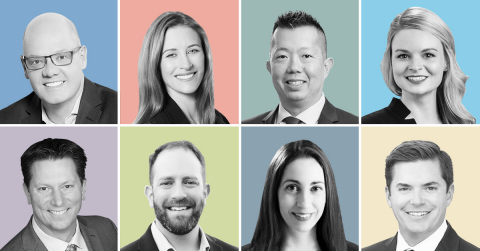 Top Row, l-r: Kevin Simonsen, Marie Lewis, David Hsiao, Colleen O'Connor Bottom Row, l-r: Ken Kuras, John Moshy, Carlye Murphy, Kevin Tremblay (Photo: Business Wire)