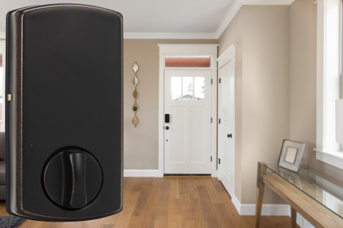 Hampton Products introduced the new Array By Hampton Revive™ Connected Deadbolt at CES 2020, which provides advanced smart door lock technology to residents who must keep their existing exterior deadbolts in place and use their landlord's traditional, metal keys. The new deadbolt works with the Array® smart home app for iOS and Android. (Photo: Business Wire)