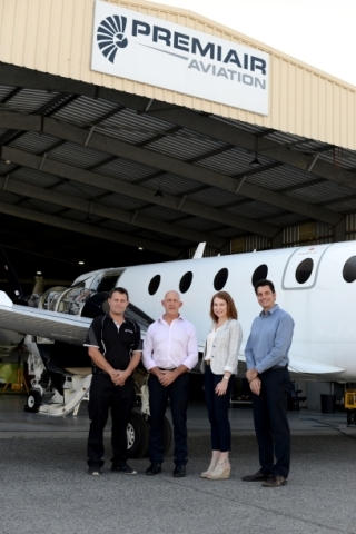 Textron Aviation and Premiair Aviation Maintenance leaders celebrate the acquisition of the Australian service provider. The Premiair team joins Textron Aviation's Global Customer Support organization, led by Kriya Shortt. Left to Right: Premiair Engineering Manager Andrew Ross, Premiair Managing Director Paul Montauban, Textron Aviation Senior Vice President of Global Customer Support Kriya Shortt, Textron Aviation Vice President and General Manager of APAC Service Gabriel Massey (Photo: Business Wire)