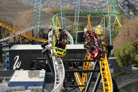 The high-five is featured on Six Flags Magic Mountain's newest roller coaster, West Coast Racers. The quadruple launch coaster also features side-by-side launches and 14 track crossovers while racing side-by-side. (Photo: Business Wire)