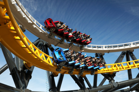 Side-by-side racing on the new West Coast Racers roller coaster at Six Flags Magic Mountain in Los Angeles, CA (Photo: Business Wire)