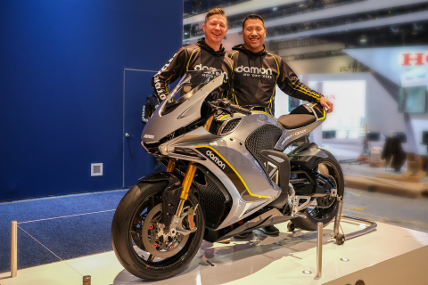 Damon Motor Cycle Founders Jay Giraud and Dominique Kwong, unveil the Hypersport Electric Superbike with CoPilot Advanced Warning System at CES 2020 (Photo: Business Wire)