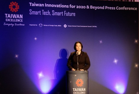 Eva Peng, TAITRA's Strategic Marketing Department Manager, speaks on Taiwan establishing itself as the region's AI and 5G hub at the Taiwan Excellence Press Conference at CES 2020. (Photo: Business Wire)