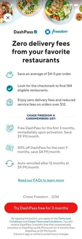 Chase cardmembers can activate for complimentary DoorDash DashPass (Graphic: Business Wire)