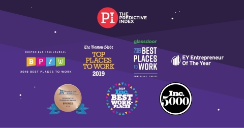 The Predictive Index Named a Best Place to Work by The Boston Globe, Inc., BBJ, and Glassdoor; a Product Innovator by Brandon Hall Group; and a Fastest-Growing Company on the Inc. 5000 List (Graphic: Business Wire)