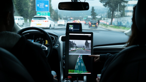 A photo from December 2018 shows the interior cabin of a Mobileye autonomous vehicle as it maneuvers through traffic in Jerusalem. Mobileye, an Intel company, is the leader in assisted driving and a pioneer in the use of computer vision technology to save lives on the road. (Credit: Mobileye)