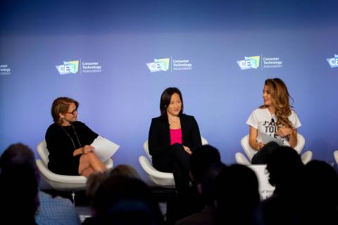 Speaking at the CES Digital Health Summit, Katie Couric, Rally Health's Brenda Yang and Maria Menounos discuss digital navigation in health care. (Photo: Business Wire)