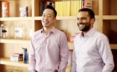 Komodo Heath's series C funding enables expansion of its Healthcare Map. Pictured: Co-founder and President, Web Sun (L) and Co-founder and CEO Dr. Arif Nathoo (R). Photo Credit: Mark Hopkins. (Photo: Business Wire)
