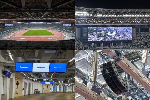 大屏幕显示系统(左上方)、看台上的大屏幕显示系统和照明设备(右上方)、数字看板(左下方)和8箱体音响系统(右下方)。(照片:美国商业资讯)