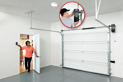 The new Genie Wall Mount Opener eliminates the ceiling clutter of a traditional rail or provides new storage space options. The Model 6170 also comes with smart phone compatibility giving many options to remotely control & monitor your garage door. (Photo: Business Wire)