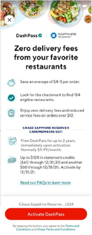Chase is partnering with DoorDash to provide benefits to cardmembers (Graphic: Business Wire)