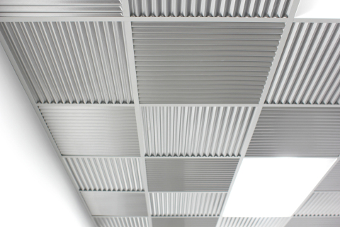The Formula | Corrugated + Brushed Aluminum (MirroFlex Lite Ceiling Tiles) (Photo: Business Wire)