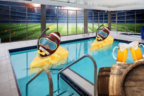 Take a victory lap in the indoor swimming pool.