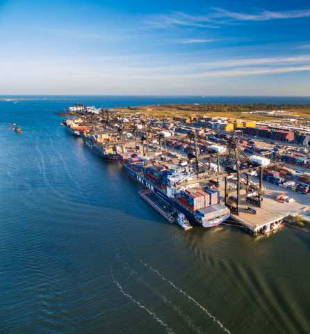An aerial shot of Port Houston's busy Bayport container terminal. (Photo: Business Wire)