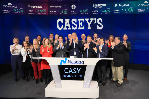 Casey's General Stores (NASDAQ:CASY) rings the opening bell at NASDAQ. (Photo: Business Wire)