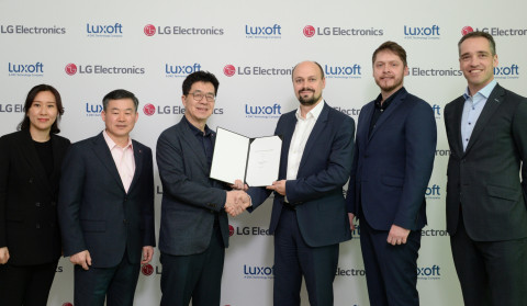 LG Electronics and Luxoft Joint Venture Agreement Signing Ceremony, January 7, 2020 (From left) Heewon Choi (VP, SW Business PMO, LG Electronics), Jonggyu Kim (President of Zenith and SVP of LG Electronics), I.P. Park (CTO of LG Electronics) (From right) Markus Kissendorfer (SVP, Automotive Sales, Luxoft), Vildan Hasanbegovic (Director, Automotive Partnerships, Luxoft), Mikhail Bykov (SVP, Automotive Solutions, Luxoft) (Photo: Business Wire)