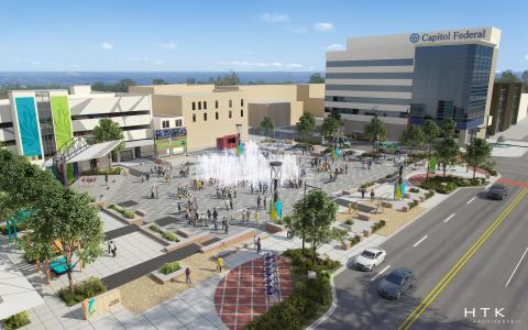 Opening in spring 2020, Crossroads Fountain on the new Evergy Plaza in Topeka, Kansas, will draw families to play in the fountain during the day and to enjoy twice-a-day water shows synchronized to music and multicolor lights. (Photo: Business Wire)